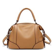 Women's Genuine Leather Top Handle Tote Bag Shoulder Bag Caramel