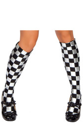 Knee high checkered stockings. Checkered pattern may vary between checks and diamond shapes.