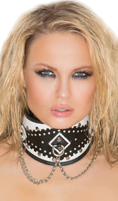 Leather posture collar with chain detail and white trim.