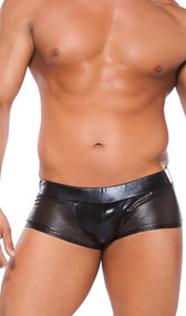 Wet look shorts feature perforated faux leather detailing. Perforated sides. Wet look back.