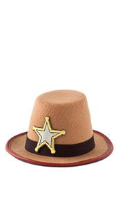 This mini cowboy hat works perfectly with one of our sexy cowgirl outfits! Beige cowboy hat with embroidered sheriff's badge, black hat band, red trimmed brim, and attached elastic chin strap.