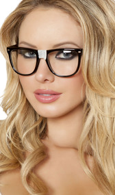 Nerd glasses with tape over center. Big black frame with clear plastic lenses.