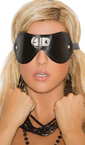 Leather blindfold with D ring detail.  Adjustable buckle strap. Inside is padded and fleece-lined for comfort.