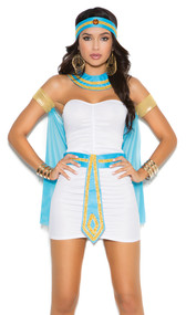 Queen of the Nile costume includes bandeau mini dress, neck piece, head piece, belt and arm bands with attached cape. Five piece set.