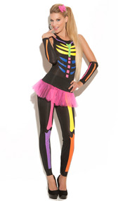 Scary Bones costume includes jumpsuit, tutu skirt, gloves and hairbow. Black light receptive. Four piece set.