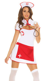 ER Nurse costume includes dress with attached apron, lace up shrug, hat and stethoscope. Four piece set.