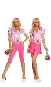 Strawberry Sweetie costume includes hoodie, capris, skirt, necklace and strawberry purse. Five piece set. Can be worn two different ways.
