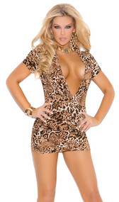 Super plunge leopard print club dress with short sleeves and side ruching.