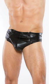 This slick and snug wet look brief features enticing double front zipper openings. Full wet look back.