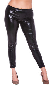 Wet look leggings. Full wetlook front and back. No pockets.