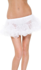 Whipcream petticoat has an elastic waist and features two loosely ruffled tulle mesh layers.