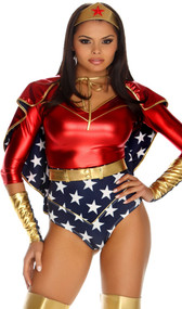 Reversible metallic red with gold trim and blue star spangled superhero cape. Ties around the neck.