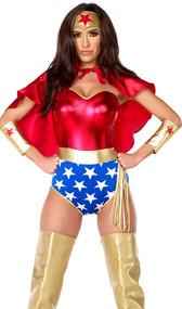 Super hero costume includes metallic strapless bodysuit, headband, cape, arm cuffs and lasso. Five piece set.