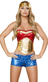 Metallic super hero costume includes strapless sequin top, waist cincher with zip side and lace up back, metallic star shorts, and headband.
