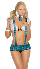 Campus Flirt school girl costume includes mesh cami crop top with satin bow detail, pleated micro mini skirt with detachable suspenders, and collar with attached tie. 3 piece set.