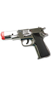 Shiny silver plastic prop cap gun costume accessory. Working trigger. Button on side to pop open cap cylinder. Use 8 shot ring caps, caps not included.