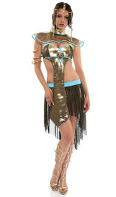 Pyramid Priss Cleopatra costume includes halter top, skirt, collar, headband and snake armband. Five piece set.
