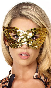 Sequin cat mask with elastic strap. Back side is lined with felt for comfort.