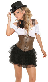 Racy Steampunk Rose costume includes lace up corset, blouse, petticoat skirt, and scarf. Four piece set.