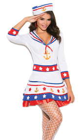 Harbor Hottie sailor costume includes v neck dress with three quarter sleeves and anchor and star details. Sailor hat with anchor detail. Two piece set.