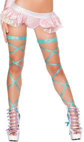 Shimmer leg strap with attached garter. 100 inches long. 2 per package.