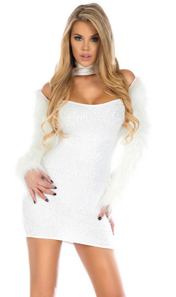 Snowball sequin palette dress with mock neck, chest cutout and faux fur/metallic blend sleeves. Zipper back.