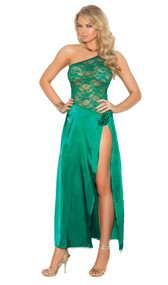 Charmeuse and lace gown with one shoulder, side slit, and rosette applique.
