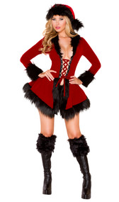 Evil Santa costume includes velvet long sleeve jacket with lace up front and fur trim. Matching shorts also included. Two piece set.