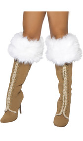 Fur boot cuffs with black satin ties at the back.
