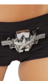 Double gun belt buckle with star detail and removable lighter.