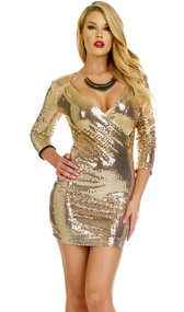 Three quarter sleeve sequin dress with plunging v neck.