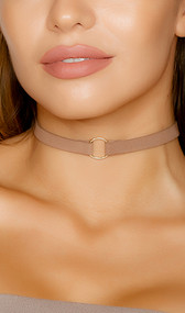 Faux suede choker with gold ring detail and adjustable lobster clasp closure.