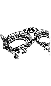 Aluminum mask with rhinestone accents and satin ribbon tie closure.