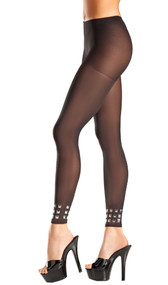 Opaque footless tights with studded cuffs.