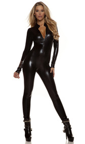 Long sleeve metallic catsuit with mock neck and front zipper opening.