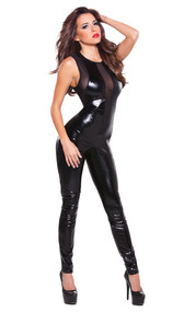 Curve skimming sleeveless wet look catsuit with sheer mesh panels. Full wet look back and back zipper opening.