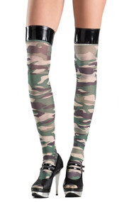 Camouflage thigh high stockings with vinyl top.