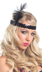 Flapper style sequin and feather head piece.