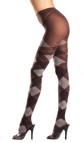 Brown and gray argyle tights.