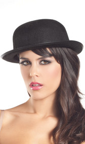Classic derby or bowler hat with band.