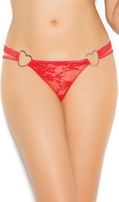Triple strap lace g-string with heart rings.