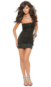 Strapless mini dress with ruched bodice and silver pinstripe.