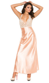 Full length gown with floral lace top and charmeuse satin bodice. Halter neck with satin bow detail. Matching g-string included.
