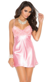 Charmeuse babydoll with lace bodice, underwire cups, adjustable straps and matching g-string.