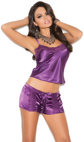 Charmeuse satin and lace cami top with adjustable straps and matching drawstring shorts.