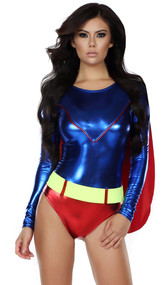 Dashing Defeater superhero costume includes metallic long sleeve bodysuit with attached cape and neon belt. Two piece set.