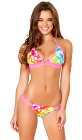 Cosmos print halter neck bikini top with O ring detail.  Matching bottoms with full scrunched back.