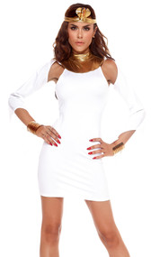 Sexy Goddess costume includes bodycon dress with suspended sleeves and metallic collar, and a captivating snake headpiece. Two piece set.