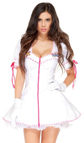 TLC sexy nurse costume includes white zip-front mini dress with pink and white candy-striped trim, satin bow detail on its puff sleeves, and a nurse's badge and cross emblem. Gloves and hair band also included. Three piece set.