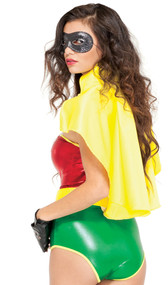 Yellow hero cape with collar and adjustable tie closure. Ties around the neck. Has somewhat of a satin finish and look to it.